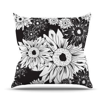 "Laura Escalante ""Midnight Florals"" Black Sunflower Throw Pillow"