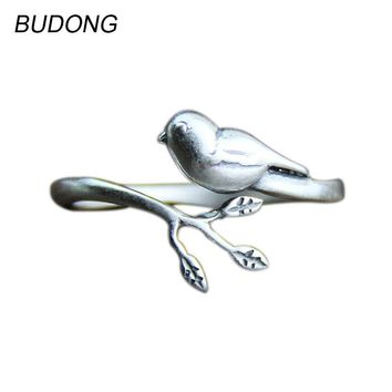 BUDONG Bird on the Tree Leaf Design Finger Ring Open Resizable Party Ring Fine Jewelry Retro 925 Sterling Silver Rings for Women