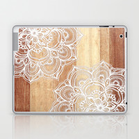White doodles on blonde wood - neutral / nude colors Laptop & iPad Skin by micklyn