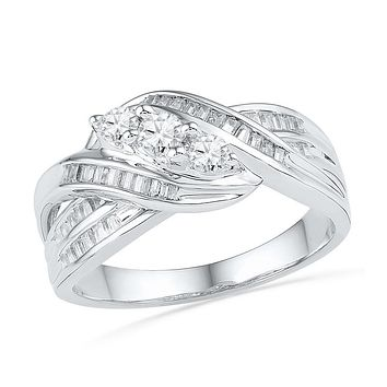 10kt White Gold Womens Round Baguette Diamond 3-Stone Crossover Band Ring 1/2 Cttw