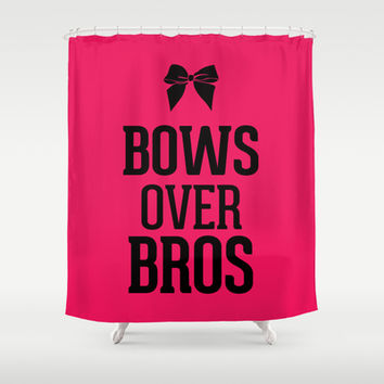 Bows over Bros Hot Infra Pink Shower Curtain by RexLambo