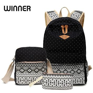 Winner Stylish Canvas Printing Backpack Women School Bags for Teenage Girls Cute Black Set Backpacks Female Bagpack Mochila