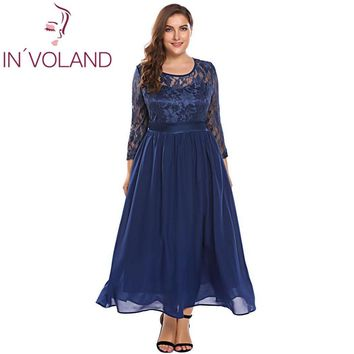 IN'VOLAND Women Vintage Lace Dress Plus Size XL-5XL Hollow Floral Lace 3/4 Sleeve Party Swing Maxi Large Dresses Big Size