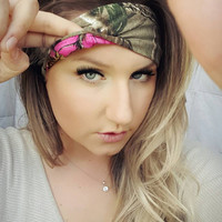 Reversible  Hot Pink Realtree Camo & realtree Camo single headband