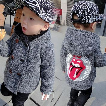 Trendy High Quality New Boys Kids Winter Hooded Coat Baby Cute Lips Double-breasted Jacket Plus Velvet Warmer Children clothing 1-5T AT_94_13