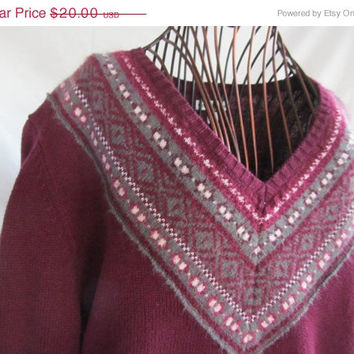 Nordic Fushia and Grey Sweater Croft and Barrow Women sz L Magenta