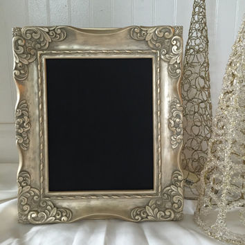Holiday Decorative Framed Chalkboard - Magnetic Chalk Board - Brushed Gold - Decorative Ornate Christmas Frame Message Board Display
