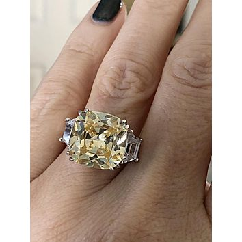 A Perfect 6CT Cushion Cut Canary Yellow Russian Lab Diamond Engagement Ring
