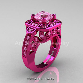 Art Masters Classic 14K Fuchsia Pink Gold 2.0 Ct Light Pink Sapphire Engagement Ring Wedding Ring R298-14KFPGLPS