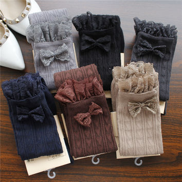 Autumn Winter Warm Stockings Lace Bow Japanese Thigh High Stockings Girls Kawaii Knee Socks Heart Printed Knee High Socks