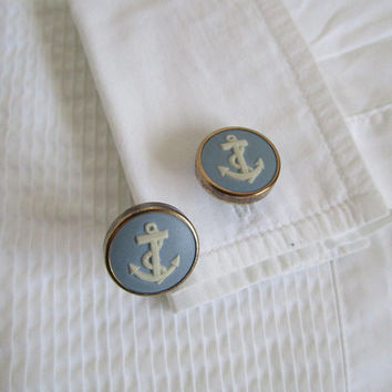 60s Wedgwood England Cuff Link Vintage Light Blue Anchor Jasperware Rainbow Steel 1960s Mens Accessories