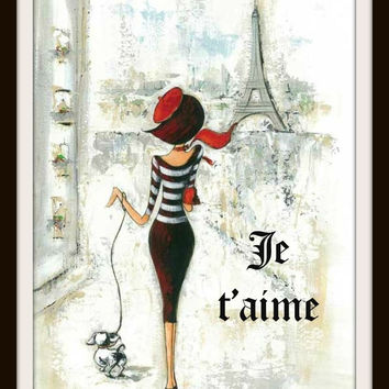 "Vintage Parisian Art Print ""Je Taime"" Reproduction Art Print"