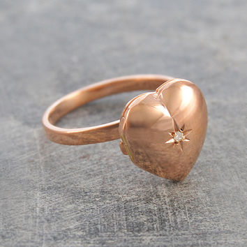 Rose Gold Heart Locket Ring with White Topaz Star - Adjustable Ring