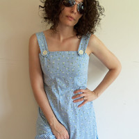 Vintage Sweet and Cute Blue and White Plaid Gingham Wizard of Oz Dorothy Summer Dress