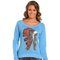 Rock and Roll Cowgirl Headdress French Terry Pullover