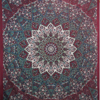 Star Elephant Maroon Mandala Tapestry, Indian Hippie Wall Hanging , Bohemian Bedspread, Mandala Cotton Dorm Decor Beach blanket