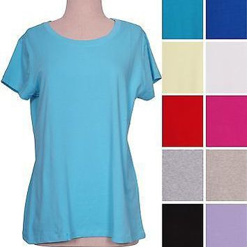 PLUS SIZE Crew Round Neck Short Sleeve Solid Plain Cotton T-shirt Top 1XL-3XL