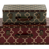 Benzara Elegant And Vintage Themed Wood Vinyl Case Set Of 2