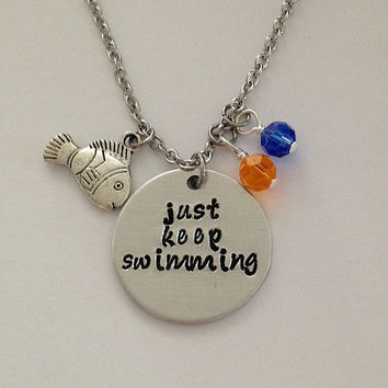 "Disney inspired Finding Nemo necklace ""just keep swimming"" hand stamped Disney necklace Dory disney jewelry"