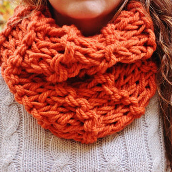 Pumpkin Orange Knitted Chunky Circle Scarf with Double Knit Loop Pattern - Cowl Neck Loop Scarf, Cozy Neck Warmer