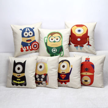 European Vintage Printed Pillow Case Small Yellow People Avengers Cushion Cotton linen Cover Square 45X45CM