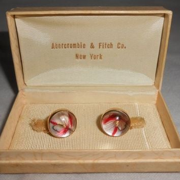Abercrombie & Fitch 14K Gold Essex Crystal Fly Fish Screw Back Earrings 1930's Fishing Outdoors Nature Wilderness Gift