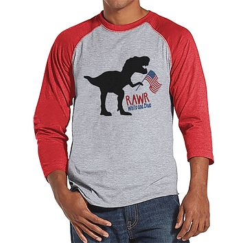 Men's 4th of July Shirt - Patriotic Dinosaur Red Raglan - Funny Dino 4th of July Party Shirt - Patriotic Independence Day Men's Shirt