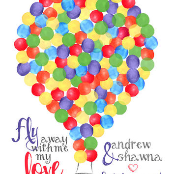 Hot Air Balloon Guest Book Canvas Print - 125 Guests - Watercolor Balloon Guest Book - Hot Air Balloon Custom Guestbook -  Fly Away with Me
