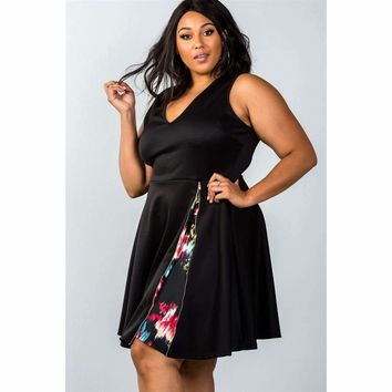 Ladies Plus Size Side Zip Design Dress