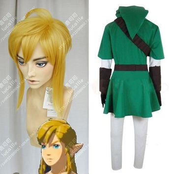 The Legend of Zelda: Breath of the Wild Link Short Golden Blonde Pony tail Heat Resistant Cosplay Costume Wig