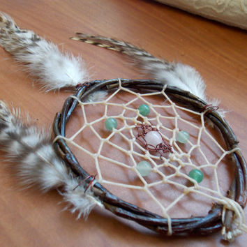Boho Dream Catcher with Green Aventurine and Rose Quartz // Healing Spiritual Heart Chakra Home Decor