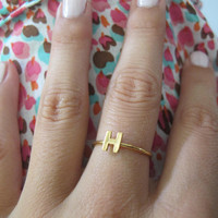Initial Ring Gold Plated, Custom Letter Ring, Yellow Gold Stackable Rings - Made to Order