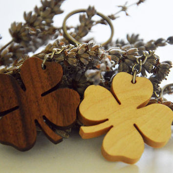 Four-leaf clover wooden keychain WALNUT, BIRCH and MAHOGANY!