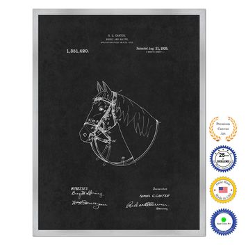 1920 Cowboy Horse Bridle and Halter Antique Patent Artwork Silver Framed Canvas Home Office Decor Great for Cowboy Cowgirl Horseback Rider