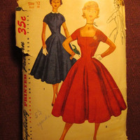 SALE Complete 1950's Simplicity Sewing pattern, 4639! Size 12 Bust 30 XS/Small/Women's/Misses/Juniors/Princess Line Dress/Short Sleeves/Coll