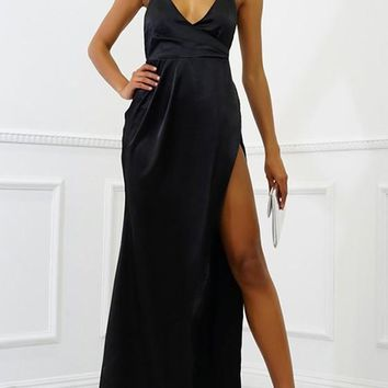 Black Draped Tie Back Backless Halter Neck High Slit Homecoming Party Maxi Dress