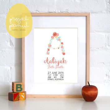 Printable Baby Birth Announcement Wall Art: Vintage Floral