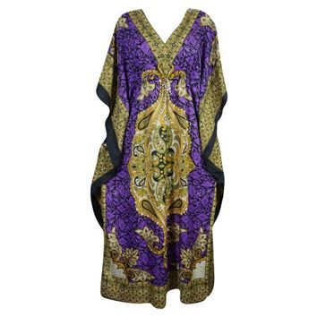 Mogul Womens Maxi Caftan Dress Floral Print Purple Kimono Sleeve Nightwear House Dress 4XL - Walmart.com