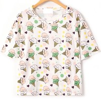 Ice Cream Pattern Tee - OASAP.com