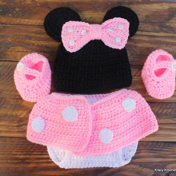 Crochet Pink Minnie Mouse Infant Set - Hat, Diaper Cover and Booties - Size 0-3 Months