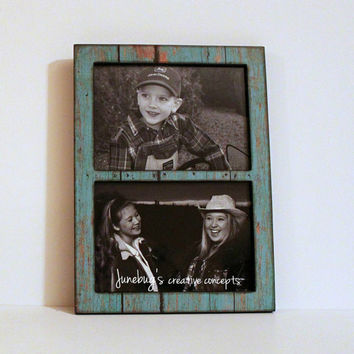 Double 4x6 or 5x7 2 Photo Frame Weathered Turquoise Paint