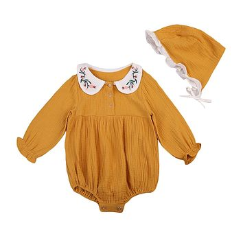 CutNewborn Infant Baby Girls Outfit Clothes Doll collar Romper Jumpsuit +Hat 2Pcs Set
