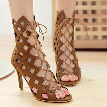 Lace up Women's Sandals Peep Toe High Heel Shoes Sandals For Women