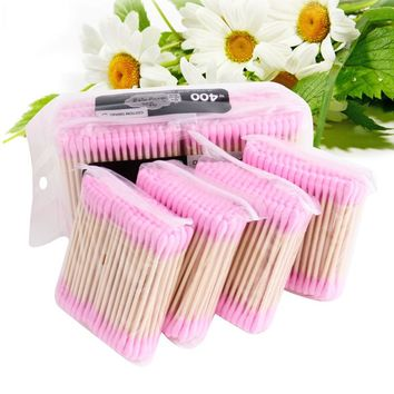 Korean 400pcs/Lot Candy Color Cotton Swabs Cotton Stick Makeup Tools