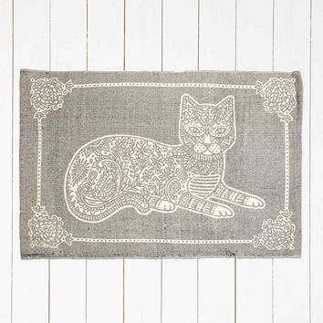 Cat Stamp 2x3 Rug in Grey - Urban Outfitters
