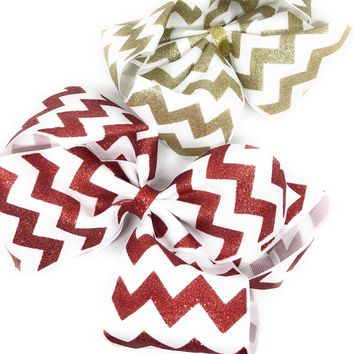 "8"" Gross grain Glitter Chevron Hair Bow perfect for Christmas"