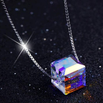 womens girls rainbow crystal necklace 925 silver Gift 79