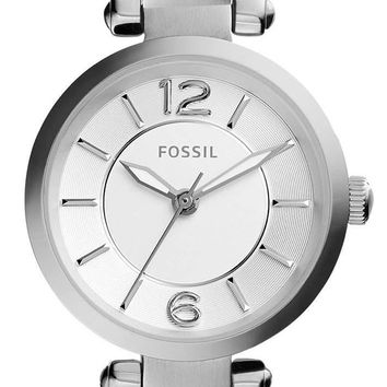 Fossil Georgia Silver Dial Brown Leather ES3861 Women's Watch