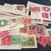 Vintage US Postage Stamps from the 1930s & 1940s - Ephemera Collage Creative Spark Vintage Paper Pack - genuine postmarks - mail - USA stamp