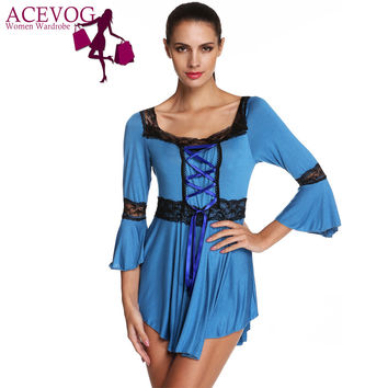 ACEVOG Fashion Autumn Blouses 4XL 5XL Women Ladies Elegant Gothic Cross Ribbon Flare Sleeved Plus Big Large Size Blouse Shirts